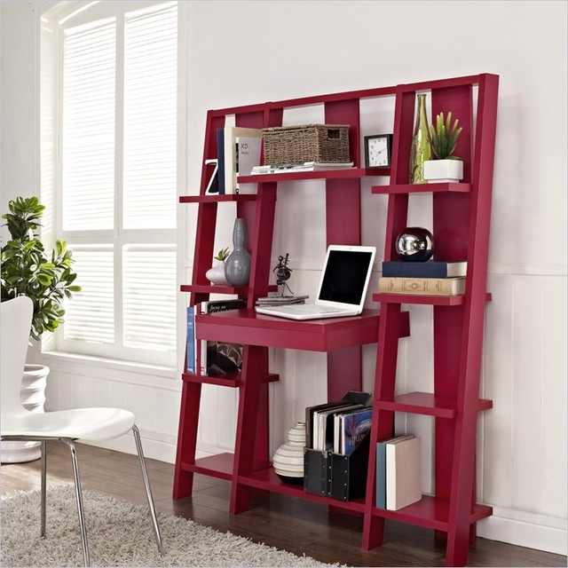 beautiful red ladder desk for monitor some ornaments on the shelf  a file stoarge under the desk a white chair with stainless steel legs white fury carpet
