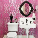 beautiful white pink bathroom with small space design with energizing white washing stand and classic wallmount mirror in mosaic tile flooring