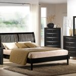 bedroom design in black by Nicole Miller  light brown fury carpet bedside table in black with table lamp black wood dresser vertical cabinet in black wood finish