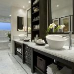 black and white bathroom feat elegant wash bowl also interesting metalic faucet with wonderful marble top feat black drawers