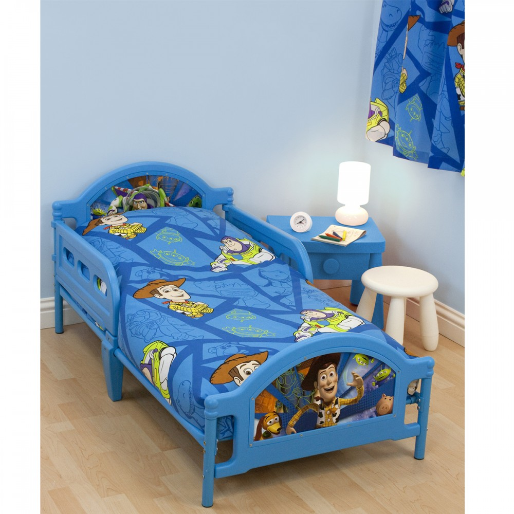 Blue Toy Story Theme Bed Furniture Cute White Round Chair Bright Blue Bedside Table With White