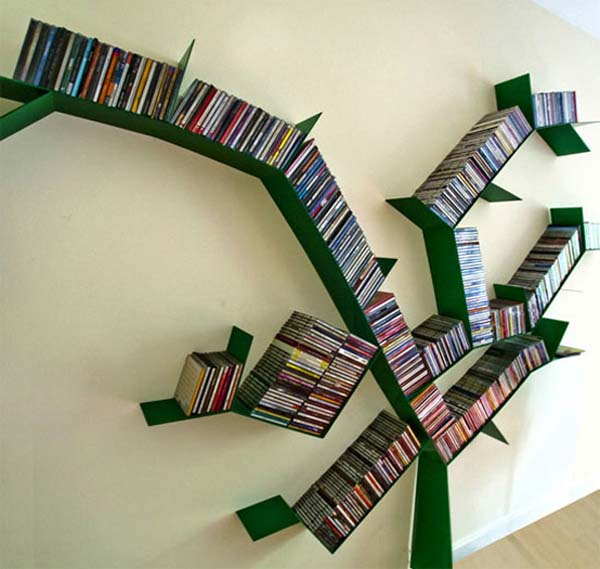 bright green tree-shape bookcase with full of book collections