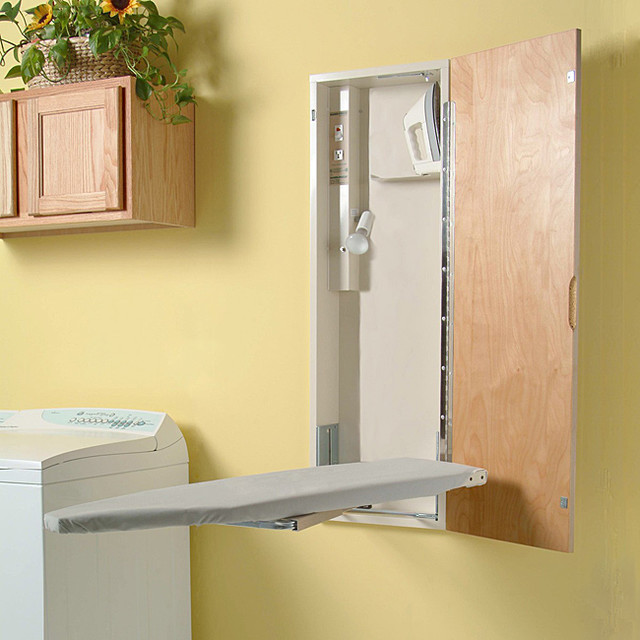 Amazing Casual And Simple Ironing Board Storage That Is Mounted On The Wall Higher  Floating Cabinets With