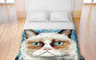 cat's head-theme fun bed sheet