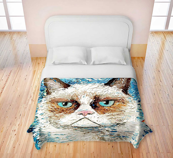 Charmant Catu0027s Head Theme Fun Bed Sheet