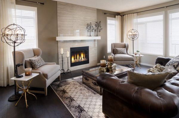 Charming Living Room Concept Completed With Small Fireplace Also Cozy Brown Leather Sofa Eclectic White