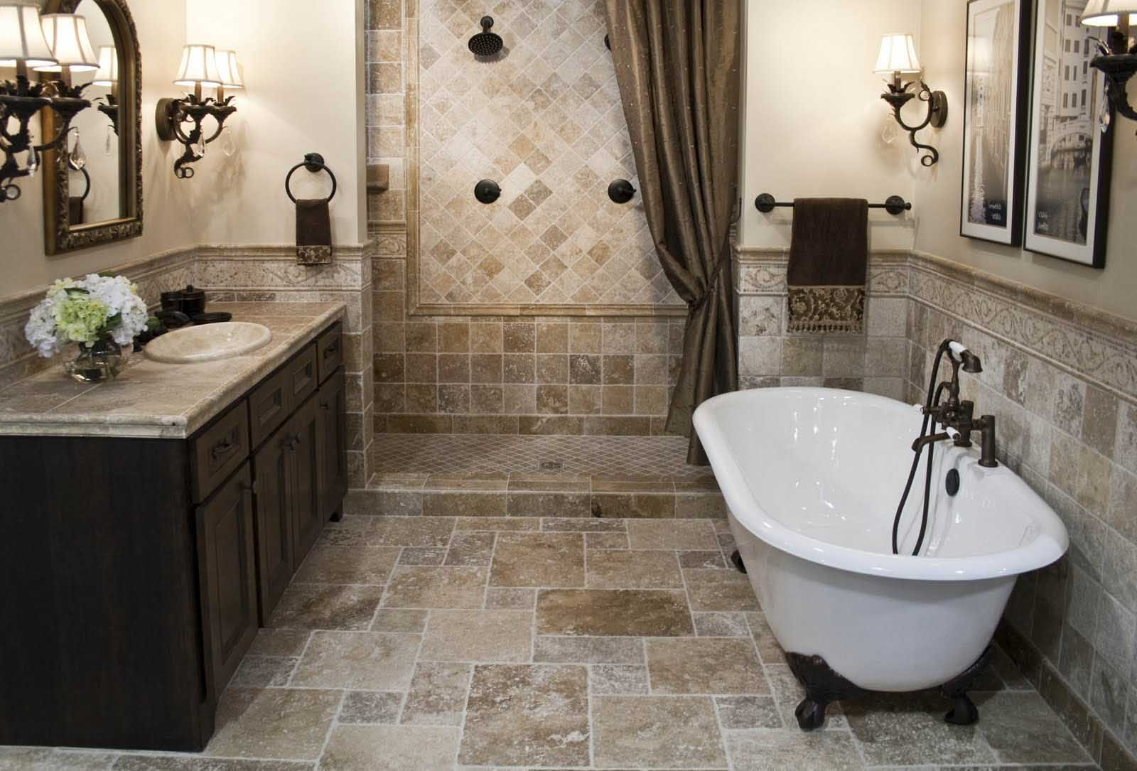 Classic Bathroom Remodel With Clawfoot White Tub Shower Zone With Dark  Shower Curtain Some Classic Wall