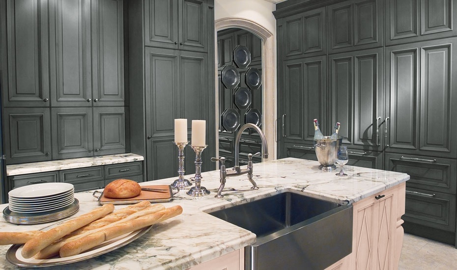 Classic Kitchen Design With White Marble Countertop Deep Black Sink And Stainless Steel Faucet Two