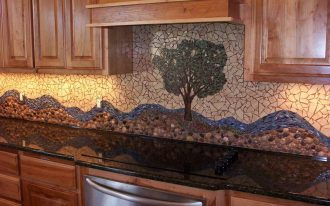 classic nice adorable cool elegant river rock backsplash with abstract decoration and has nice wooden cabinet