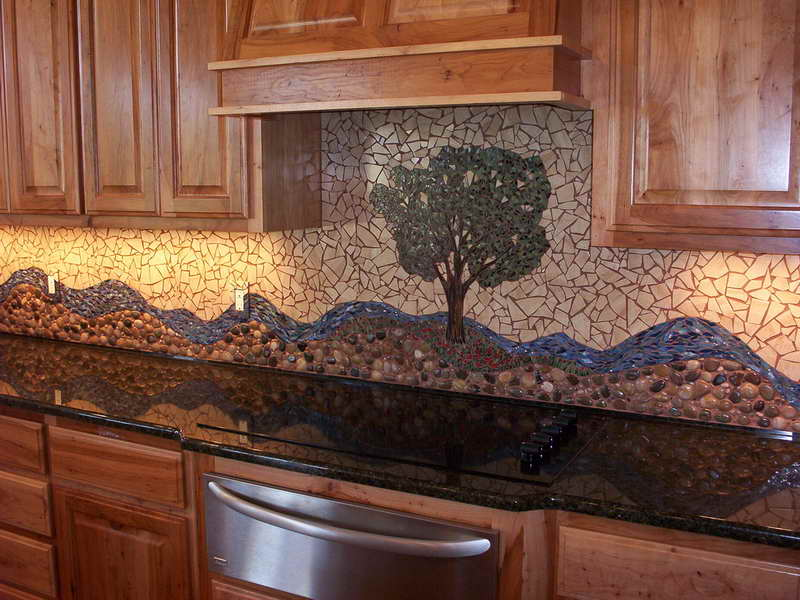 Clic Nice Adorable Cool Elegant River Rock Backsplash With Abstract Decoration And Has Wooden Cabinet