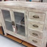 classic storage designed by TJ Maxx with glass door cabinet and darwers feature in white-washed color