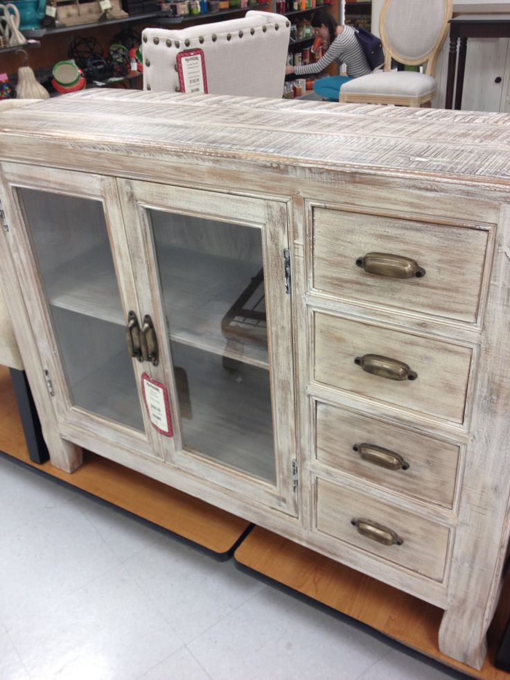 Classic Storage Designed By TJ Maxx With Glass Door Cabinet And Darwers  Feature In White
