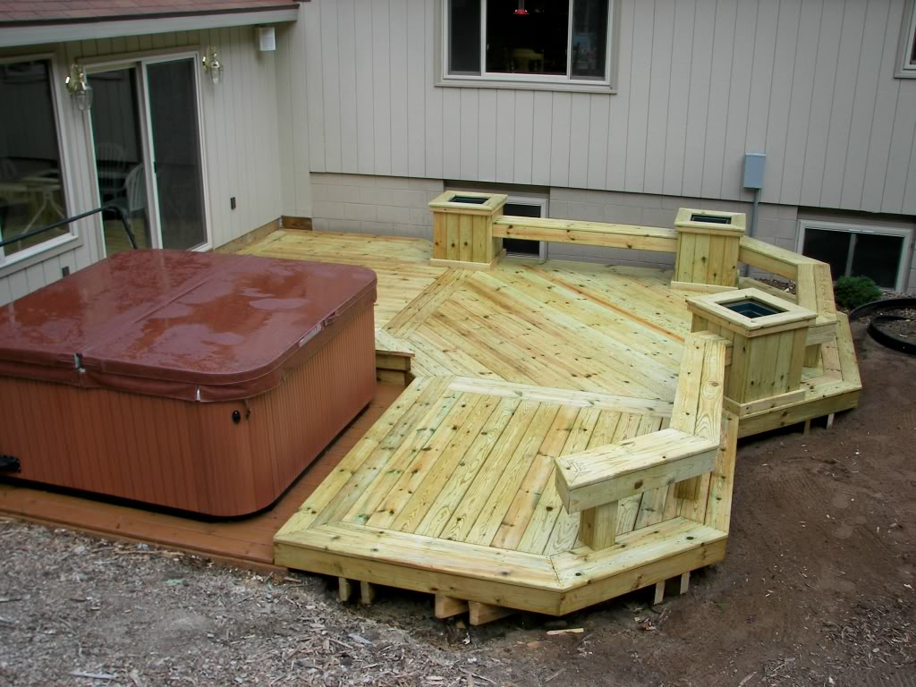 Decks with hot tubs the outstanding home deck design for Hot tub deck designs plans