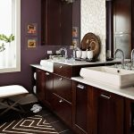 comely brown bathroom design with elegant white wash stand and ravishing brown wooden drawer with whiet framed window in marble tile flooring