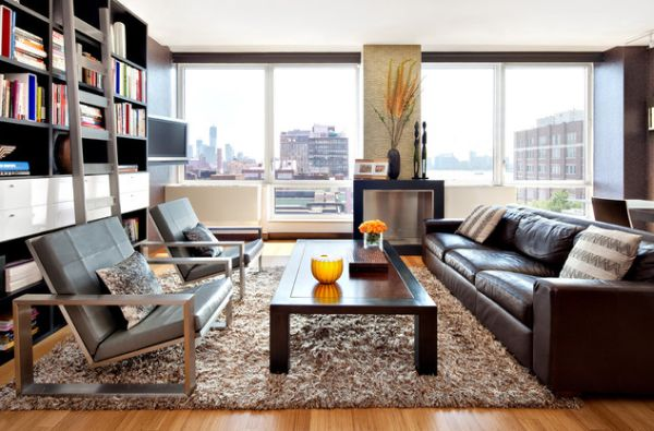Exceptionnel Comely Living Room Concept With Wonderful Brown Leather Sofa And Large  Glass Window Overlooking The City