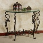 console table with metal legs and glass table top classic frame for pictures