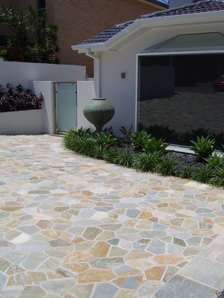 Best Tiles For Backyard :  home design with natural stone for outdoor floor over concrete