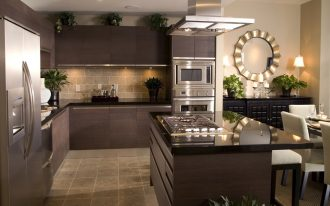 contemporary kitchen set in dark grey color white dining furniture modern kitchen appliances designed by Nicole Miller