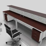 contemporary office desk for two persons with additional elevated wood panel and a pair of under storage two black  office chairs in stainless steel material