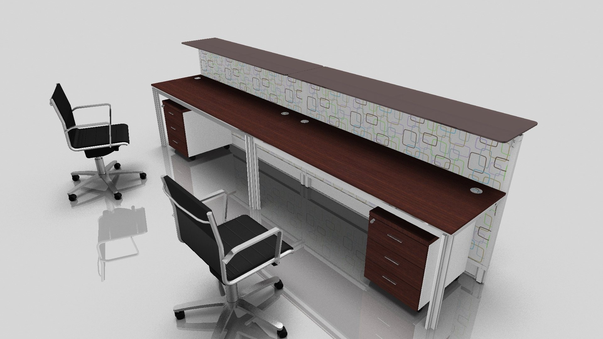 office desk for two persons with additional elevated wood panel and a pair of under