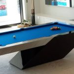 contemporary pool table design  in a private billiard room with blue top table