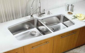 cool adorable nice wonderful fantastic Best-Stainless-Kitchen-Sink-with-two-sink-model with wooden cabinet design