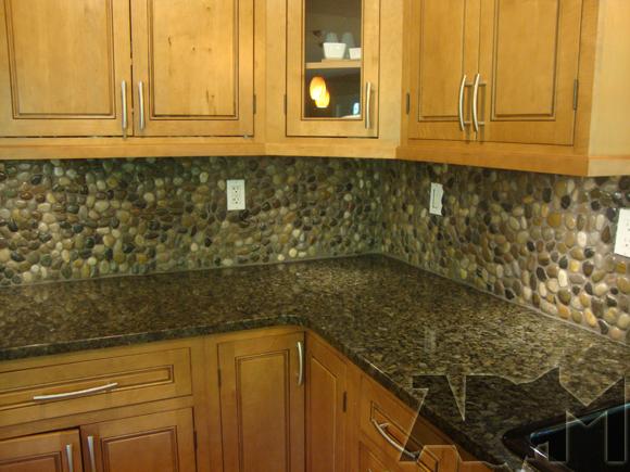 Creative Design River Rock Backsplash For Kitchen