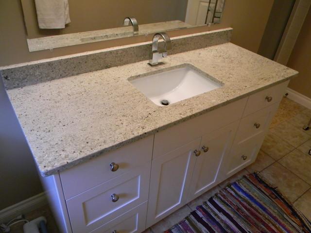 White Bathroom Cabinets Granite Countertops