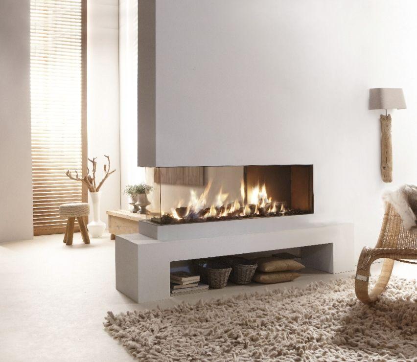 Fine Creative Modern 3 Sided Gas Fireplace Design Homesfeed Interior Design Ideas Apansoteloinfo