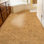 cork floor in brown accent kitchen sink with cabinets