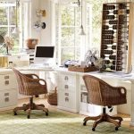 corner desk for two people in white rattan-made chairs light-green carpet  large and unique traditional abacus made from wood unique white pendant light fixtures