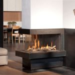corner modern gas fireplace building in three sided views