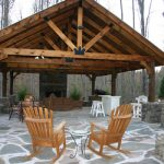 Creative Large Nice Adorable Cute Outdoor Pavilion Plan With Huge Wooden Design And Has Nice Stone Concrete Flooring Design With Some Chairs
