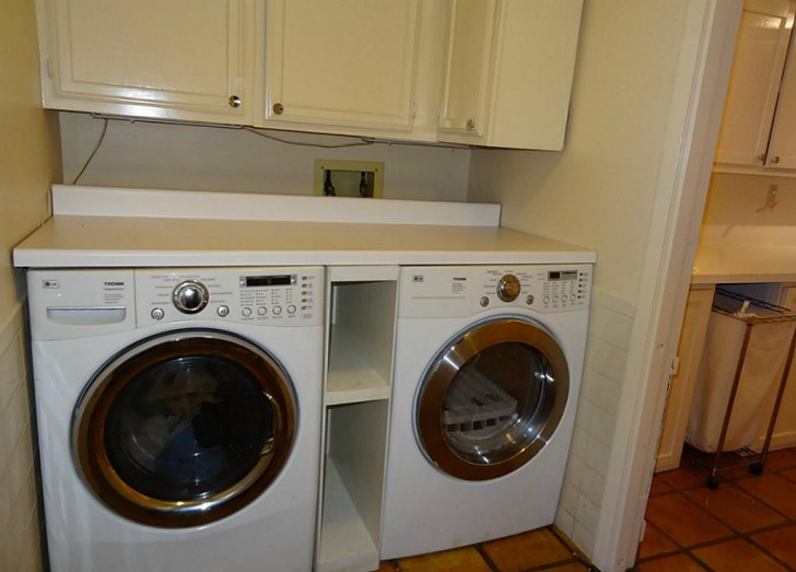 Modern design of washer and dryer cabinet homesfeed for Kitchen cabinet washing machine