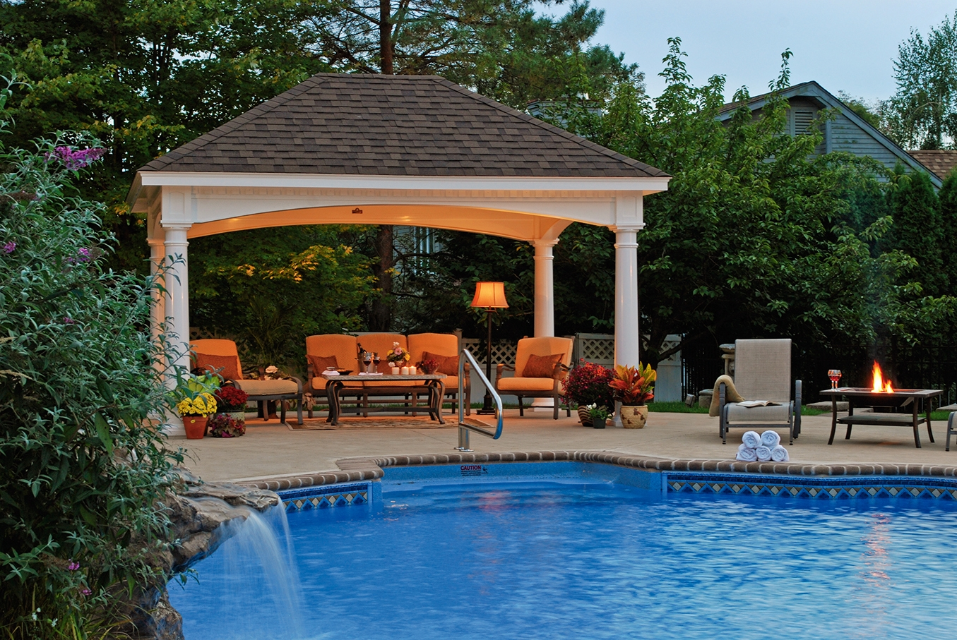 Wonderful concept of outdoor pavilion plan with nice view for Pool design with gazebo