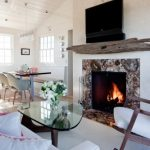 Creative Natural Simple Nice Adorable Modern Driftwood Mantle With A Nice Big Television Screen And Has Nice Adorable Living Room