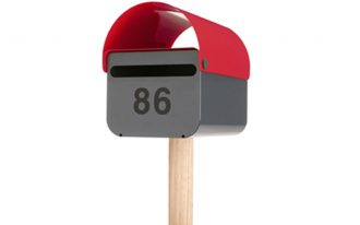 creative nice adorable cool awesome elegant simple modern mail box with nice small pillar wooden made with red and black head made of plastic