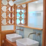 creative nice wonder amazing cool bathroom remodel mid centrury with wooden mirror frame and wooden cabinet and vanity concept