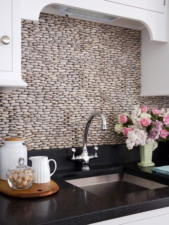 Creative Nice Wonderful Cool Fantastic Nice Amazing River Rock Backsplash  With Small Concept With Nice Arrangement