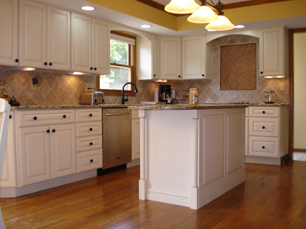 Creative Nice Wonderful Fantastic Attractive Kitchen Remodeling Nice White  Wooden Cabinet And Has Classic Wooden Flooring