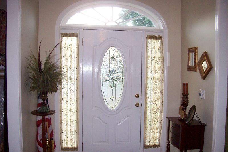 Sidelight window treatments on the main entry doors for Front door window curtains
