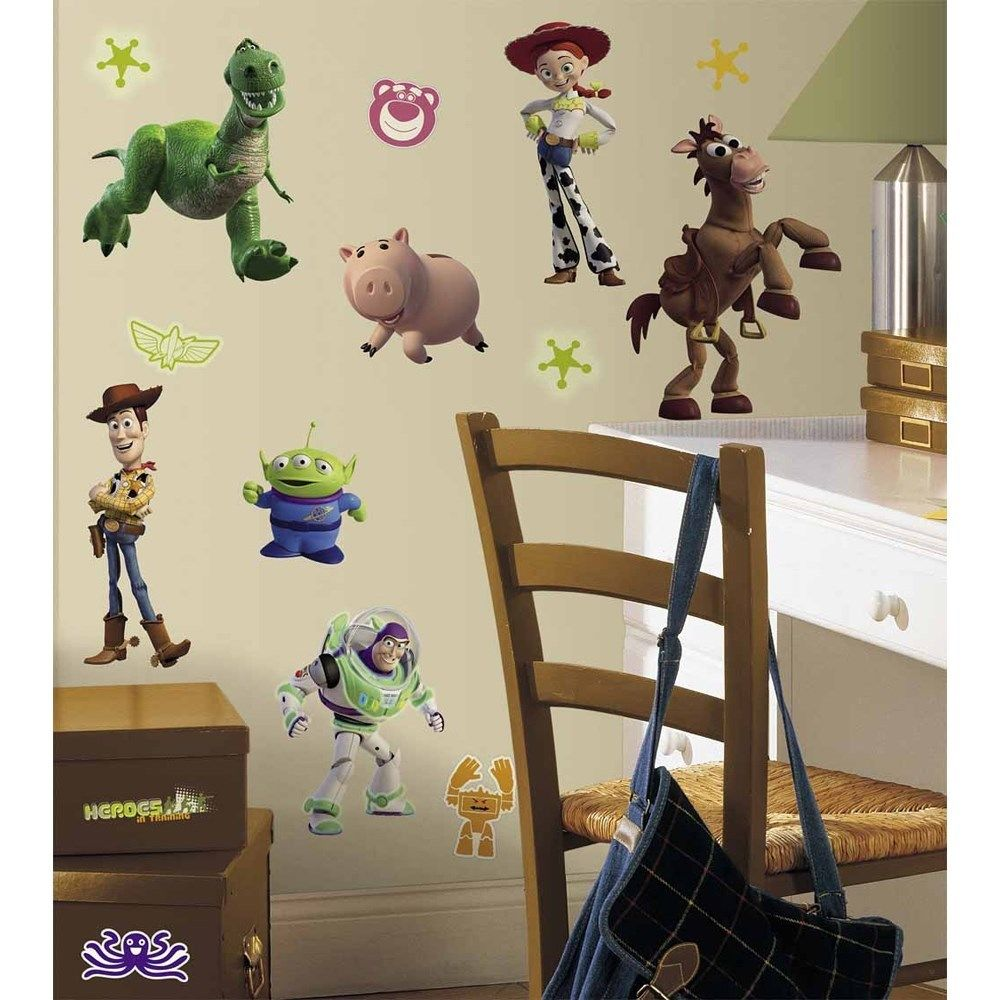 Cute Toy Story Characters Wallpaper White Desk And Simple Wood Chair With Rattan Seating