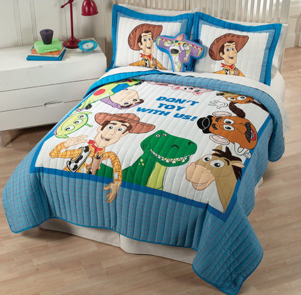 Cute Toy Story Theme Bedcover Twin Pillows With True Figures Bedside Table Drawers