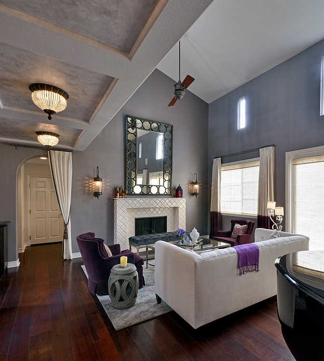 Dark Wooden Floor Gray Painted Wall White Cozy Sofa Purple Cozy Armchair  Light Gray Rug Moroccan