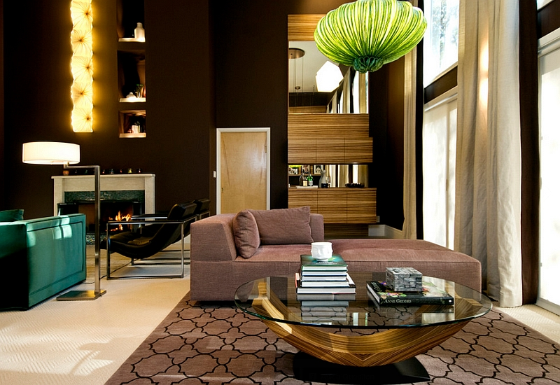 Dark Wooden Wall Beautiful Green Pendant Lamp Light Brown Sofa Beautiful  Light Brown Rug Elegant Coffee