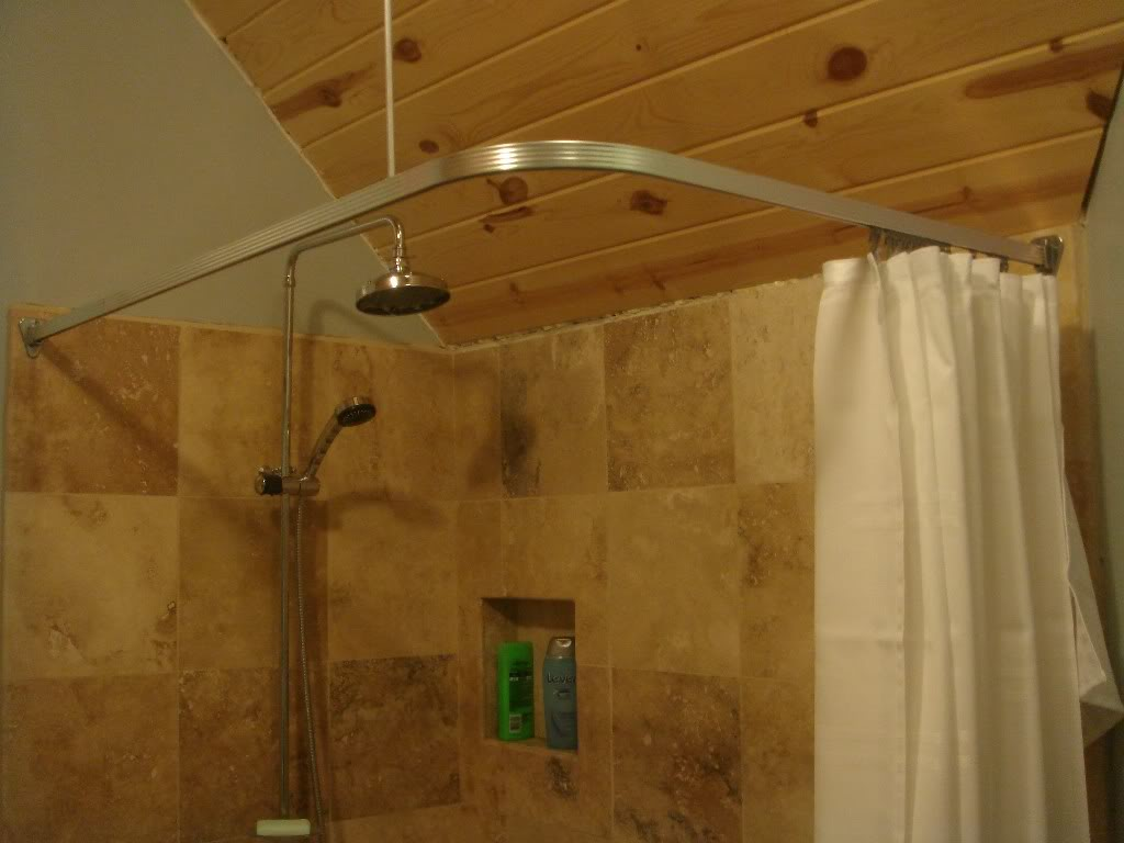 distinctive design of square curtain rod in shower space shower curtain in white color brown tone