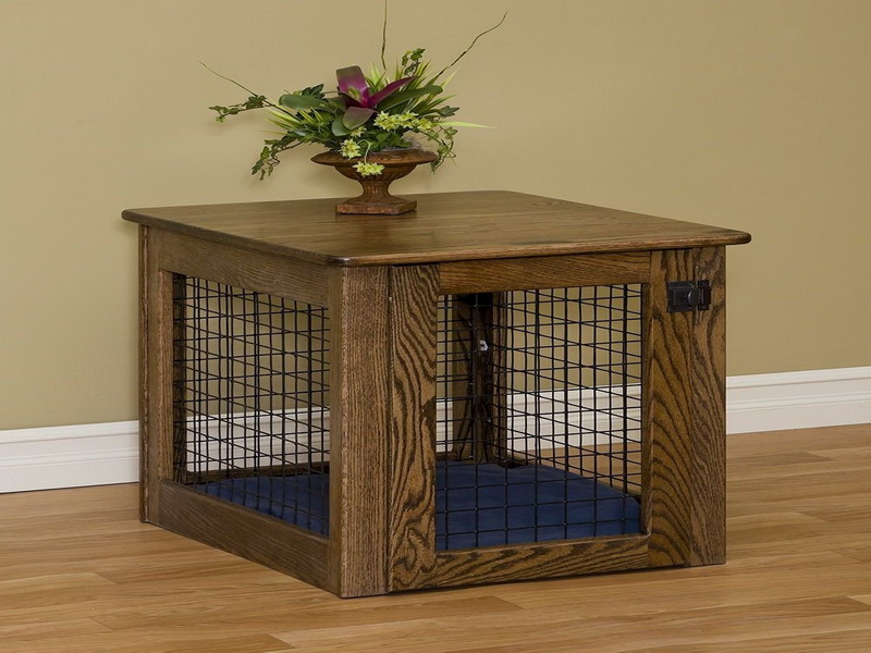 dog crate table with solid wood top and base and also wires for door and  wall