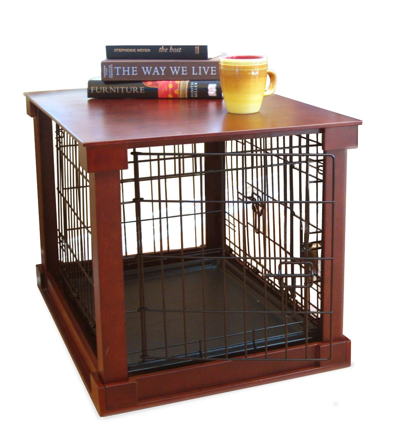 create extra comfort for your lovely dog with fancy dog crates  - dog crate with wood laminating top for table a yellow cup and a pile ofbooks