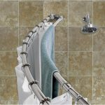double curved shower curtain rods in stainless steel with curtain hooks shower-head for shower zone ceramic tiles for wall system