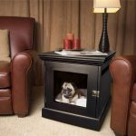 elegant black dog crate sidetable  with black-stand table lamp fixture and colorful decorative candles luxurious brown leather single sofas soft and smooth fury carpet in fair cream